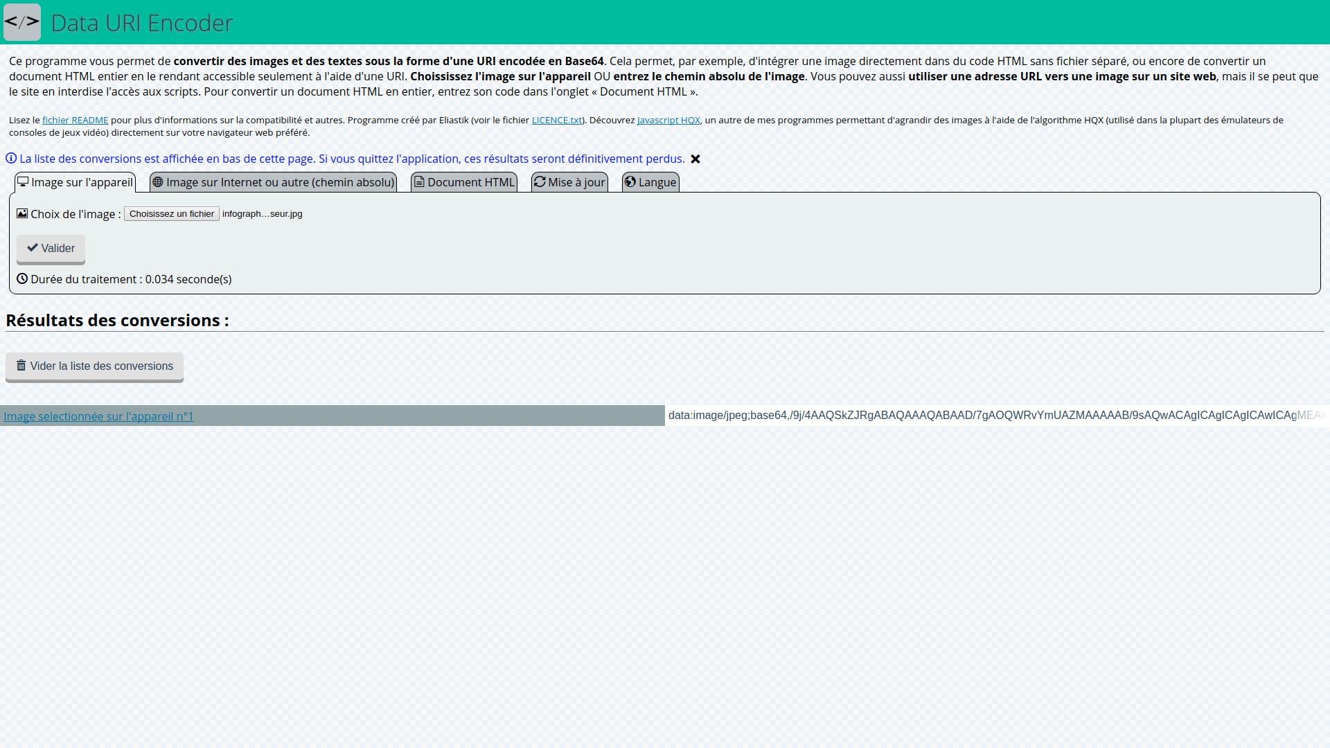 Data URI Encoder - Eliastik's Softs