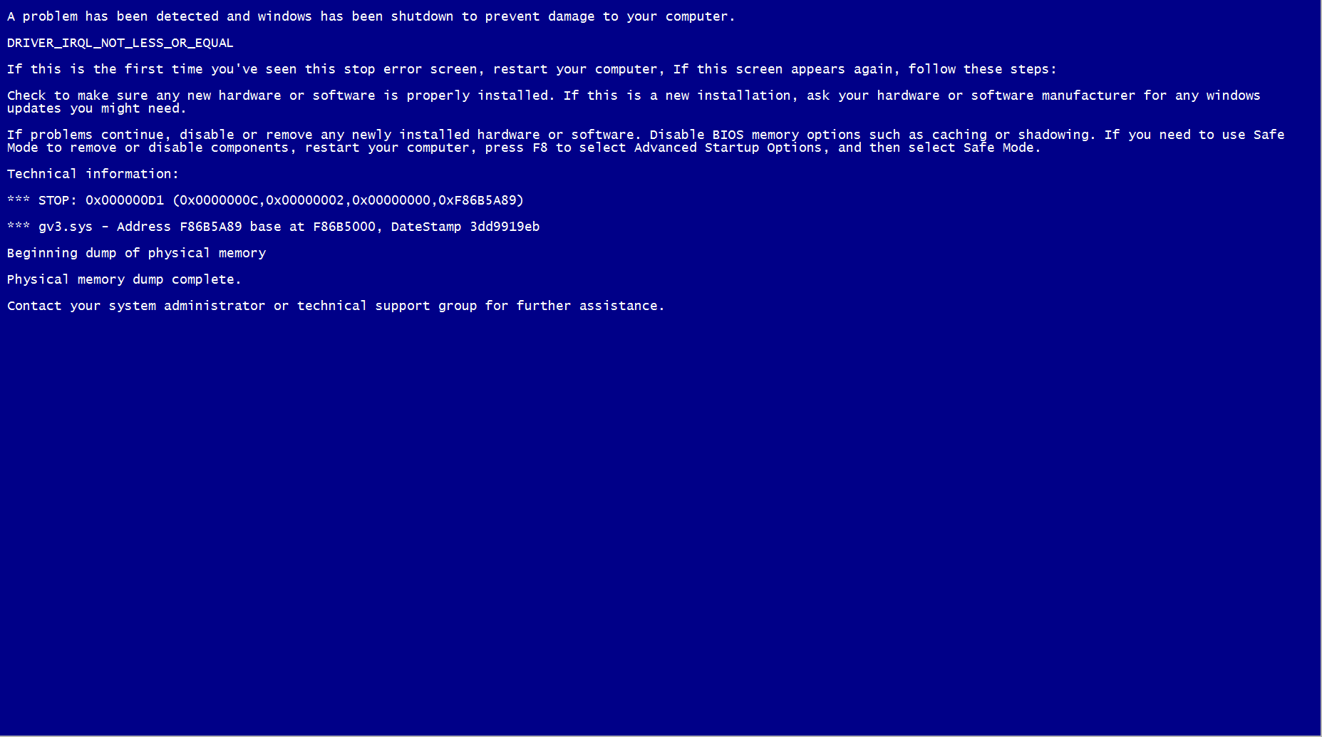 The fake virus BSOD