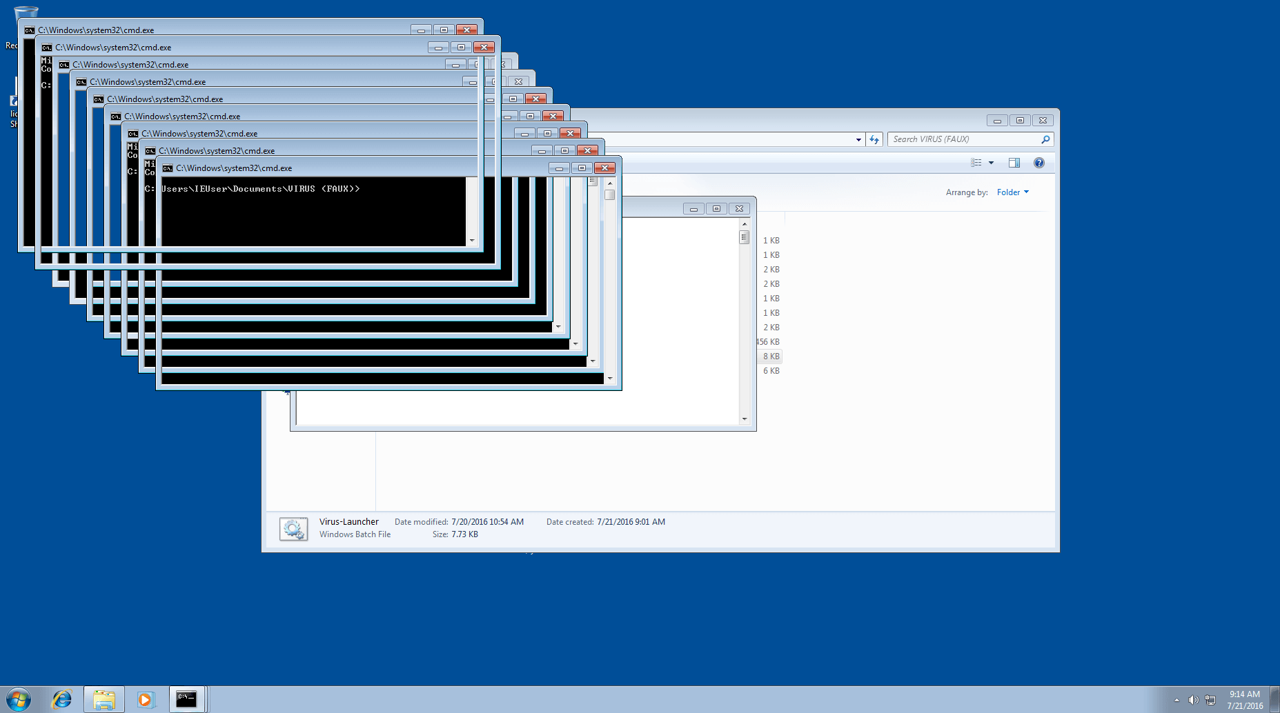 The fake virus Infinite windows