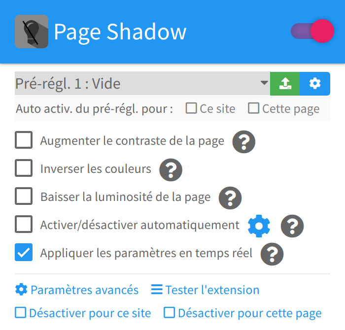 Page Shadow - Menu