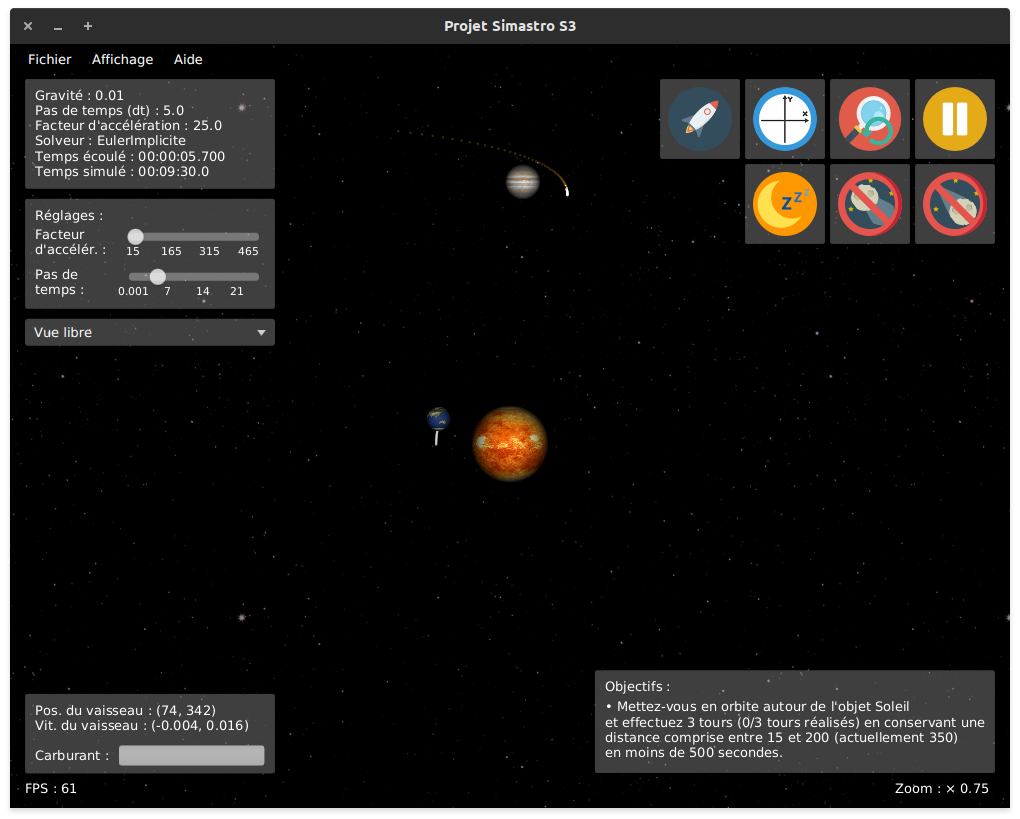 A simple system containing two planets and a spaceship