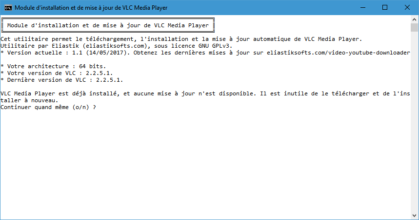 L'installateur automatique de VLC Media Player